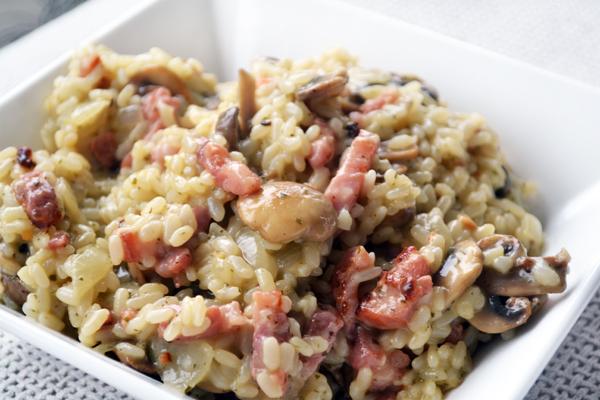 risotto met champignons en spek