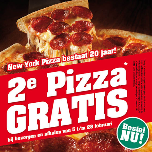 New York Pizza tweede pizza gratis