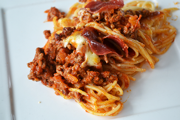 spaghetti pizza bake