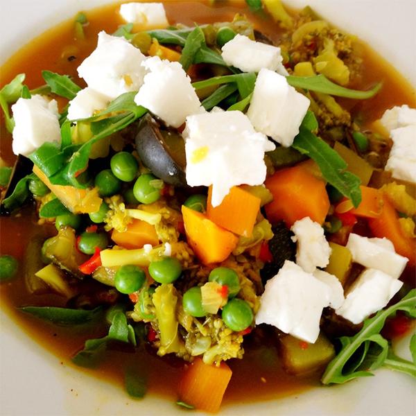 stoofpotje van groenten met feta
