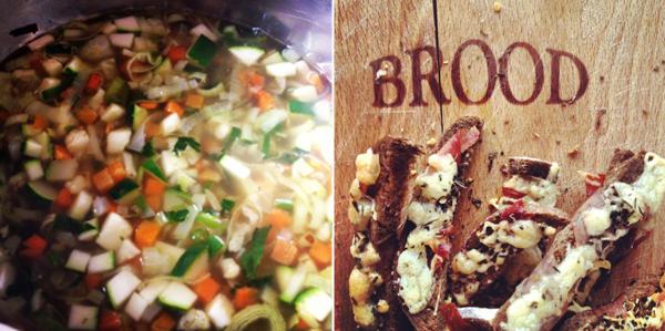 minestrone met breadsticks