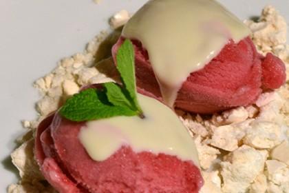 meringue met bosvruchtensorbet