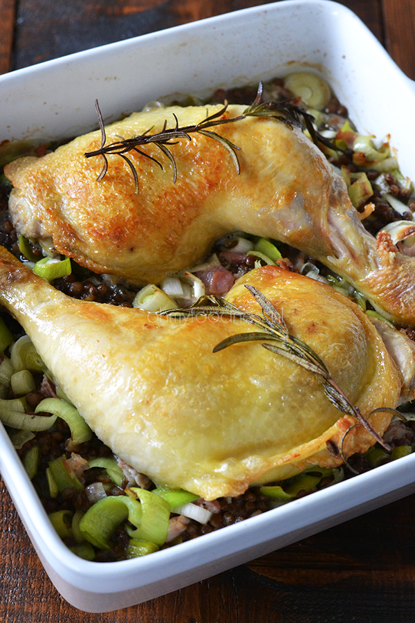 kippenbouten met linzen uit de oven