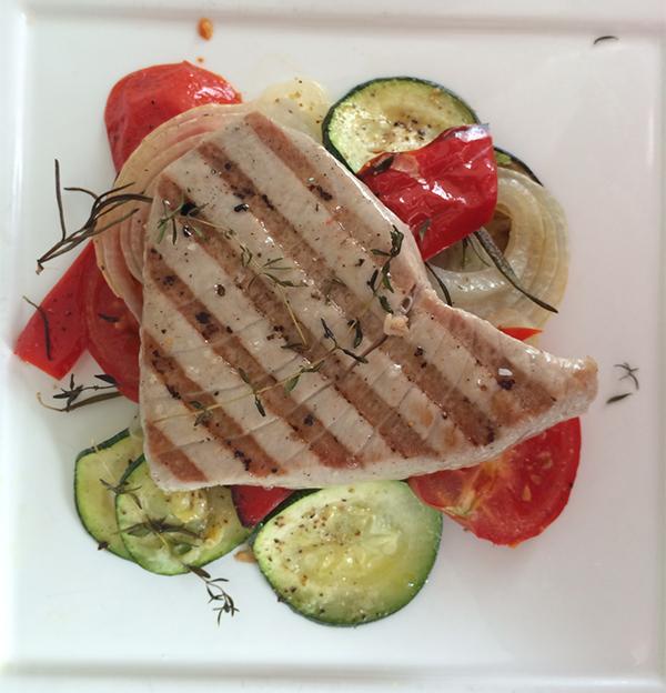 Geroosterde groenten met tonijn