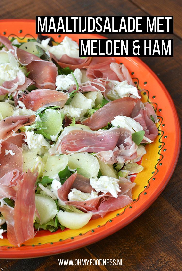 Maaltijdsalade met meloen en ham