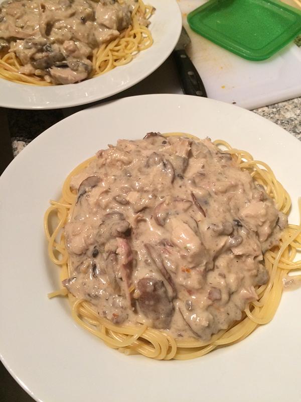 Spaghetti met champignonsaus