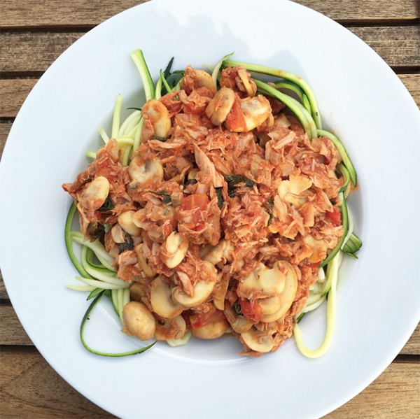 Courghetti met tonijn