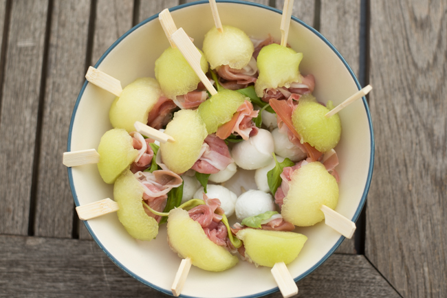 Tapasspiesjes met meloen en ham