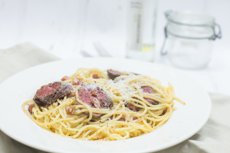 Truffelspaghetti met biefstuk