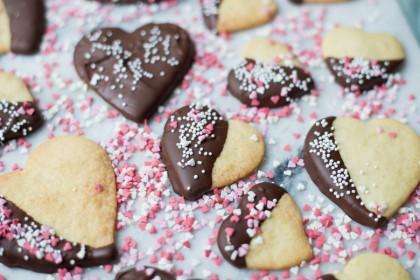 Valentijnskoekjes met chocolade