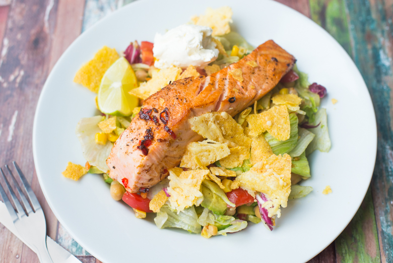 Mexicaanse salade met Chili & Lime zalm