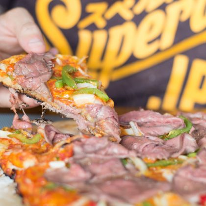 Philly Cheesesteak Pizza van de BBQ