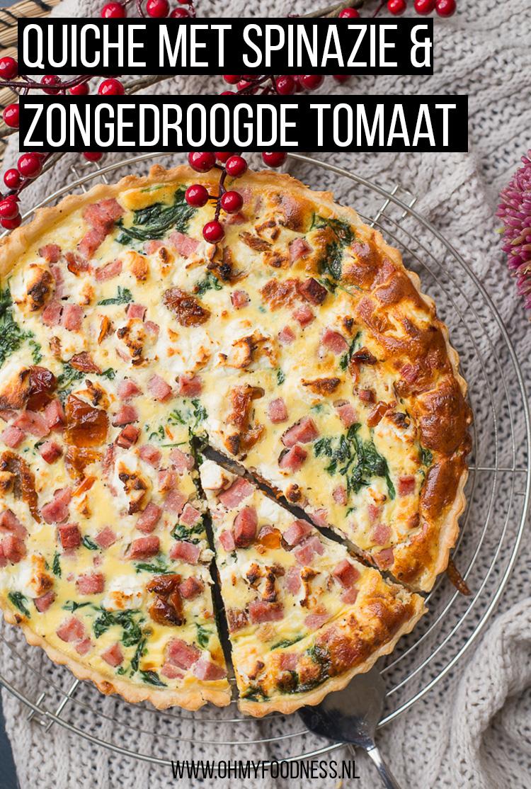 Quiche met spinazie en zongedroogde tomaat