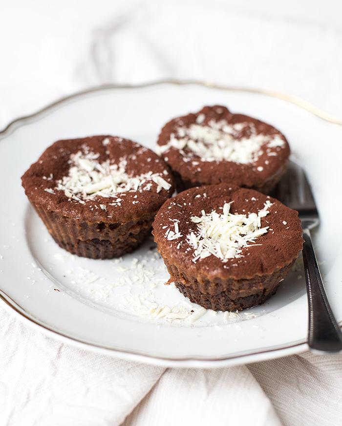 Mini chocoladecheesecakes van chocoladeletters