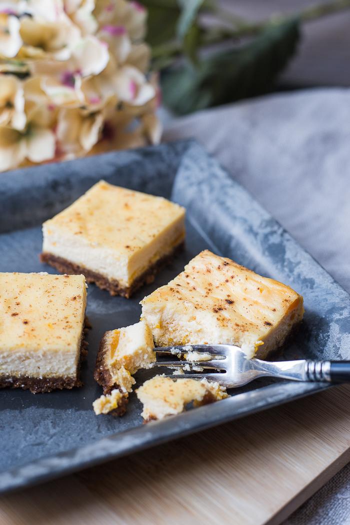 Pompoen-vanille cheesecakebars