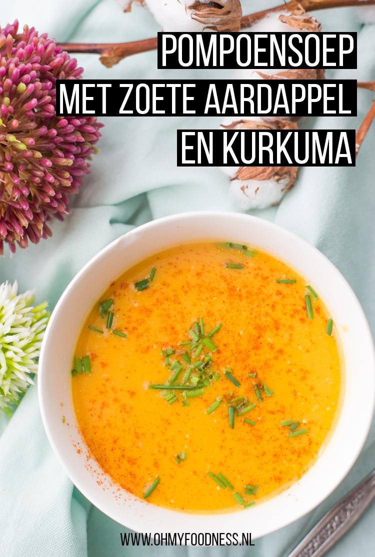 Pompoensoep met zoete aardappel en kurkuma