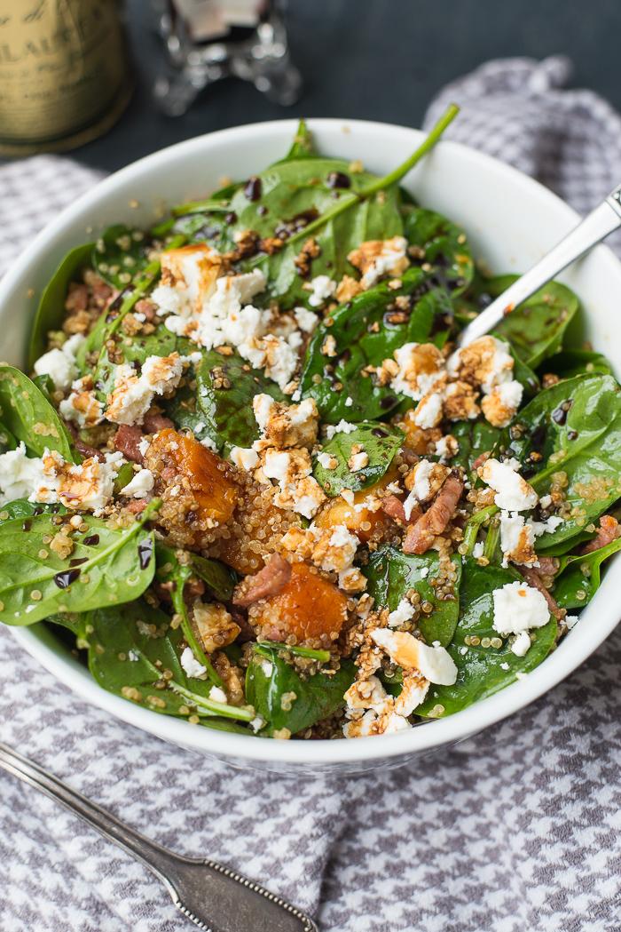 Quinoasalade met pompoen en spinazie