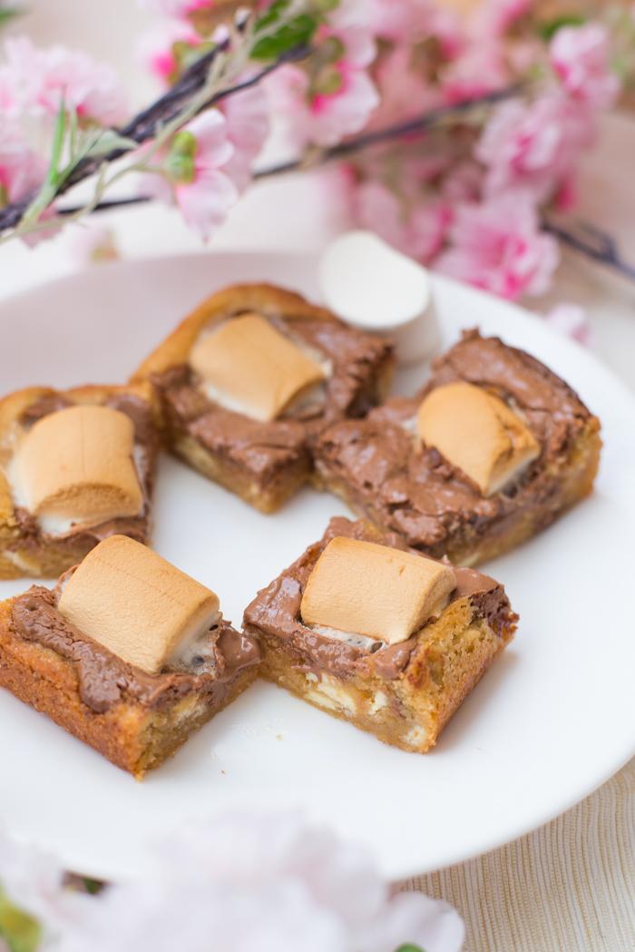 Cookiebars met chocolade en marshmallow