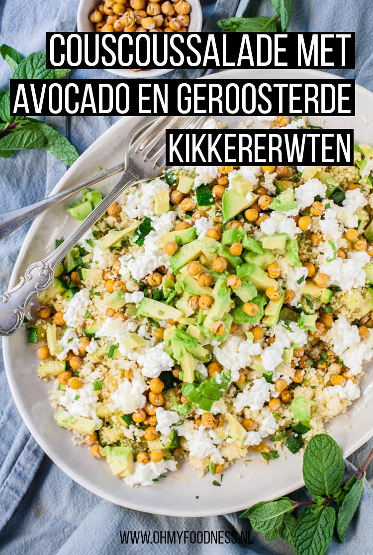 Couscoussalade met avocado en geroosterde kikkererwten