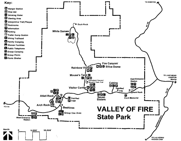 Valley of Fire plattegrond