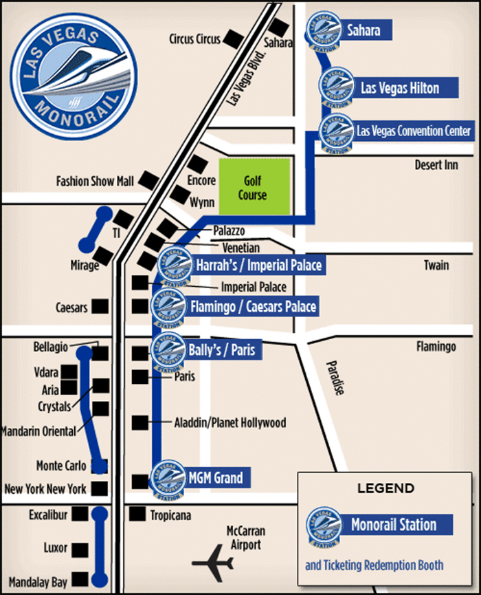 Las Vegas Monorail plattegrond