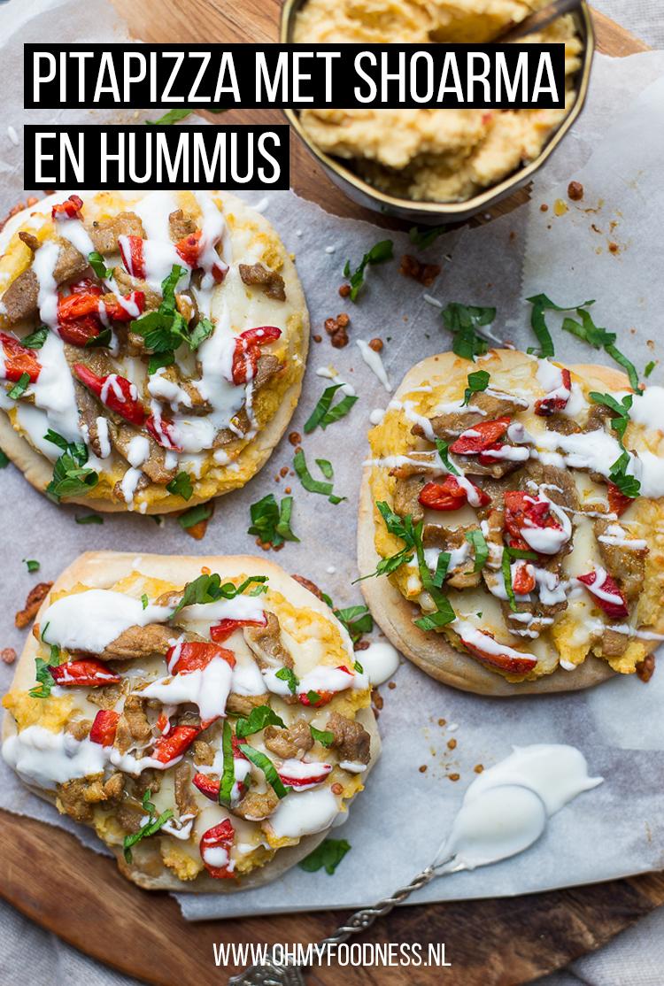 Pitapizza met shoarma en hummus