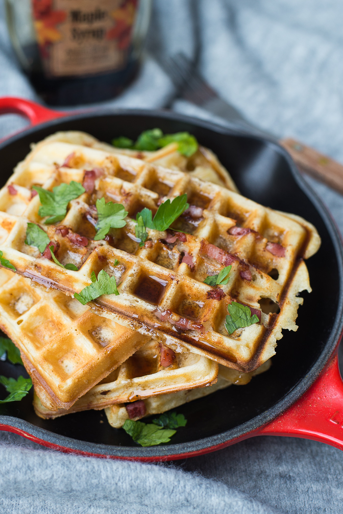 Baconwafels met maple syrup