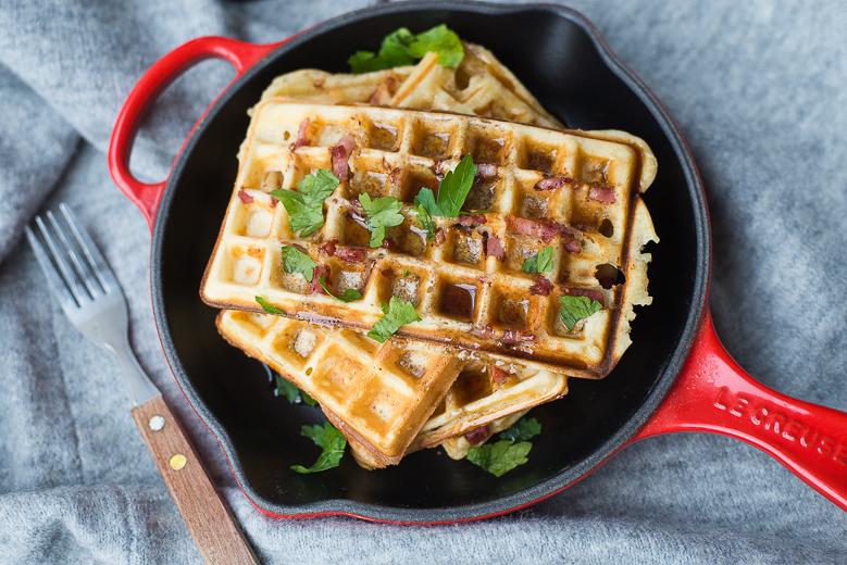 Baconwafels met maple syrup
