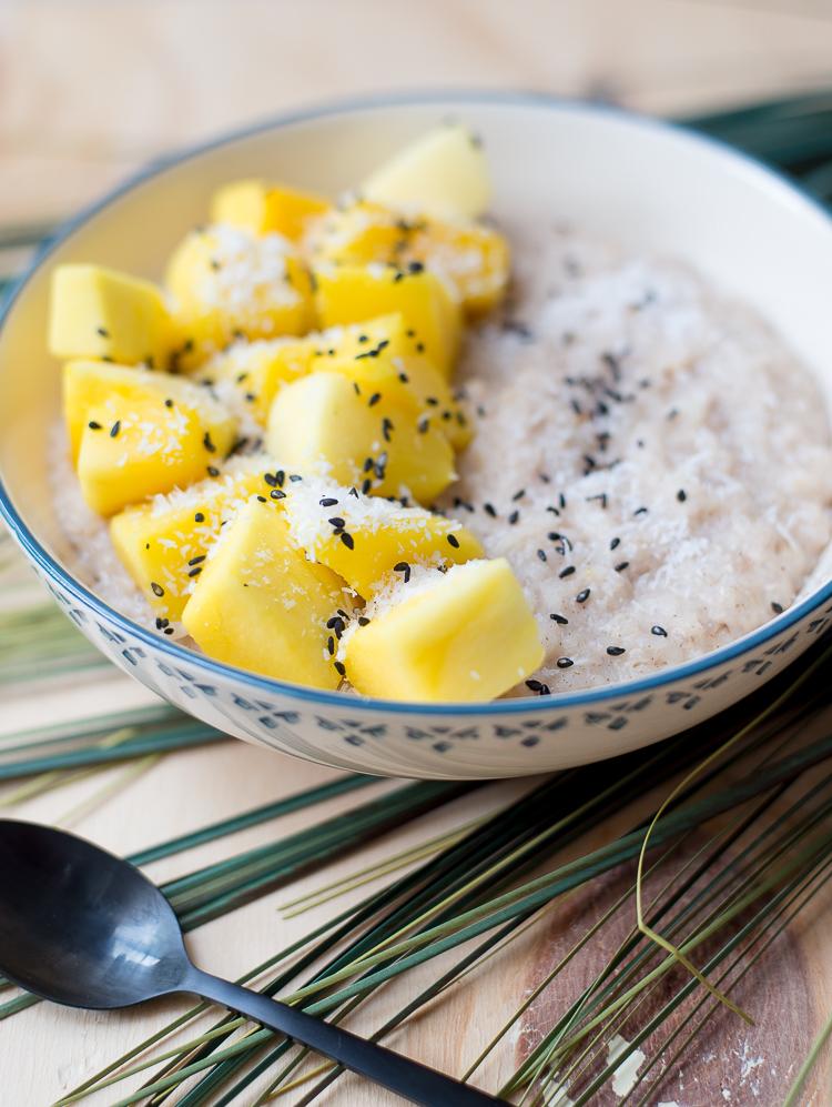 Kokosrijstepap met mango