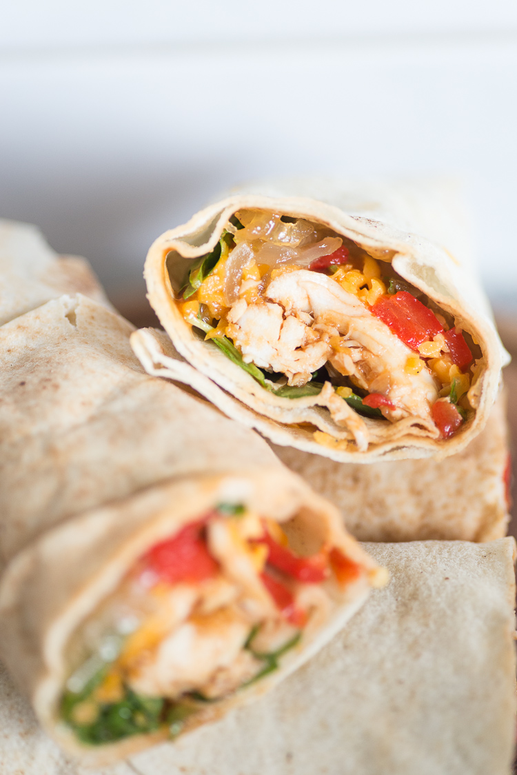 BBQ Pulled chicken wraps