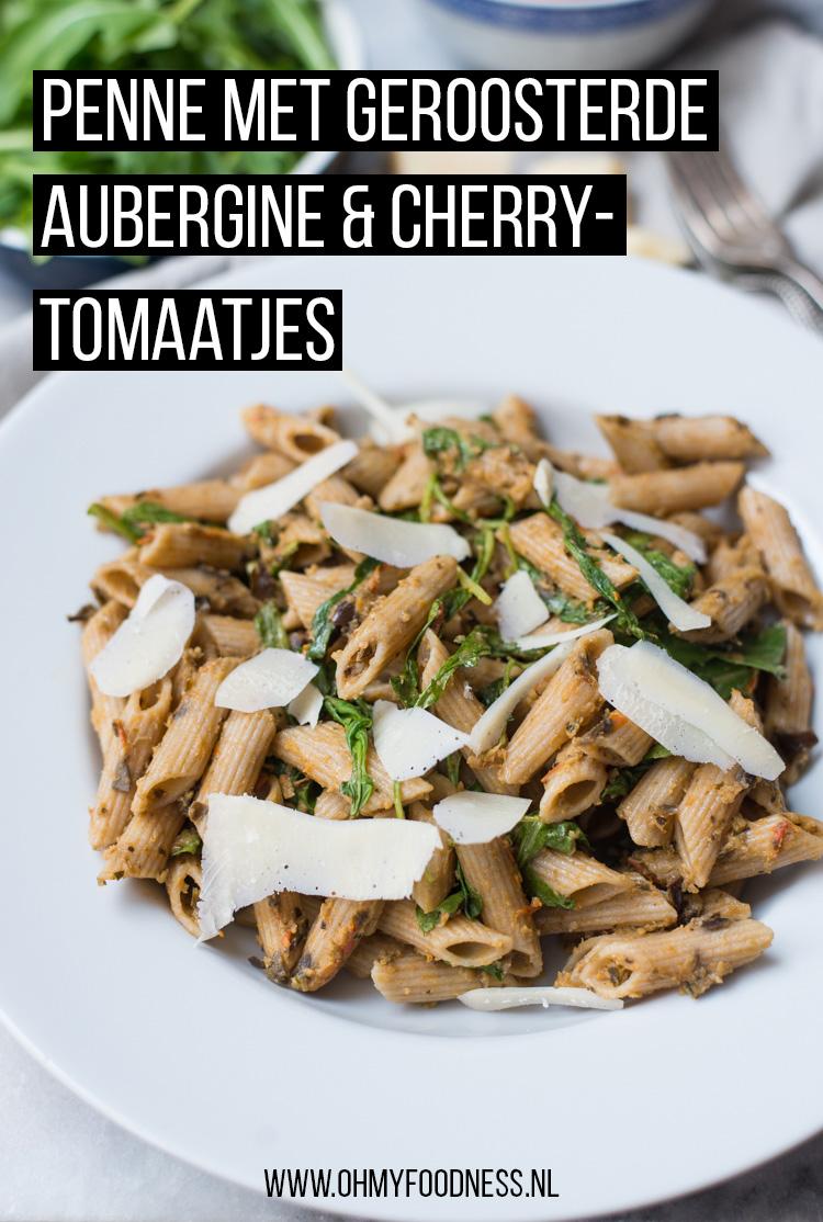 Penne met geroosterde aubergine en cherrytomaatjes