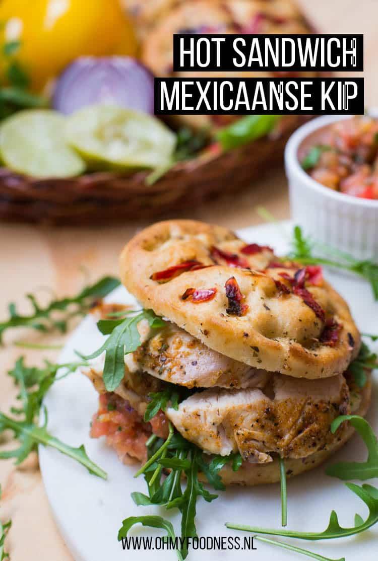Hot sandwich Mexicaanse kip