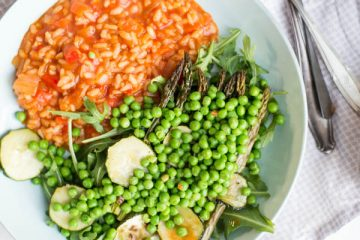 Gegrilde paprikarisotto met groene groenten
