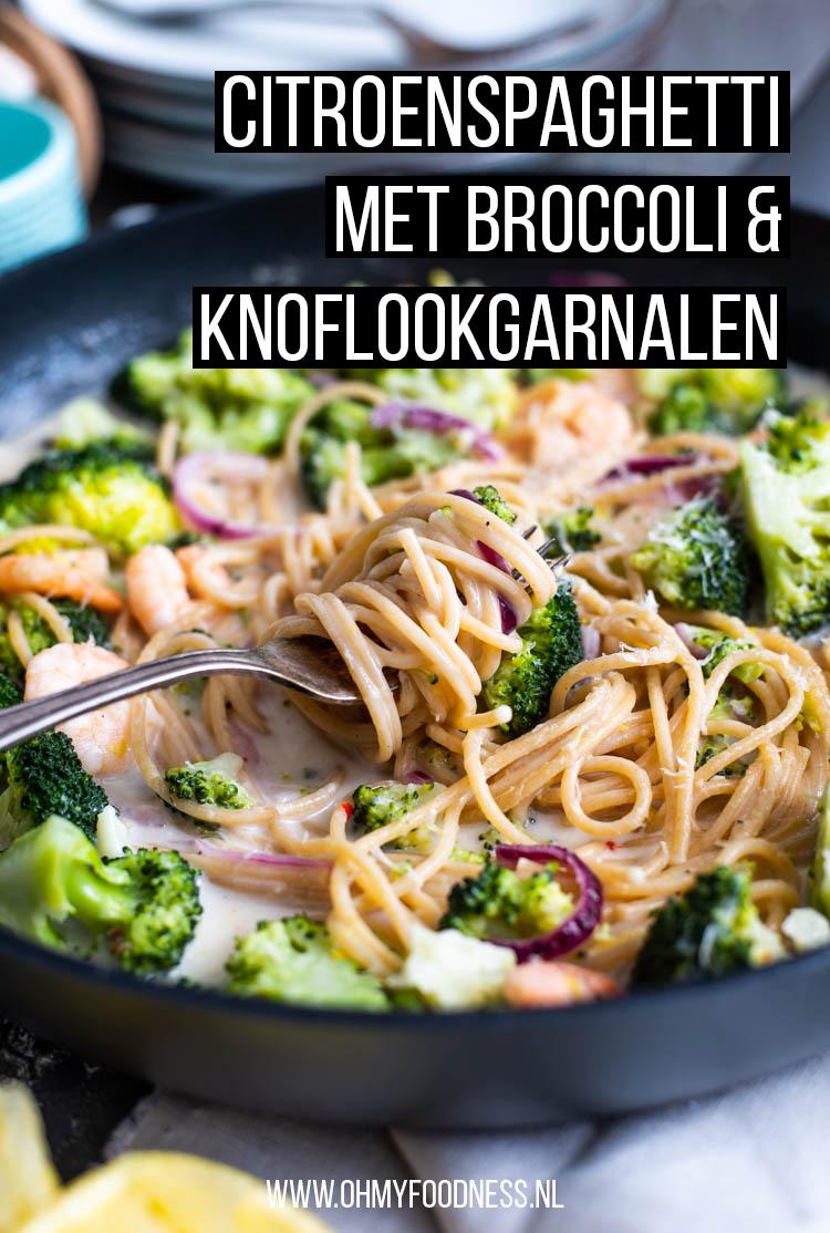 Citroenspagetti met broccoli en knoflookgarnalen