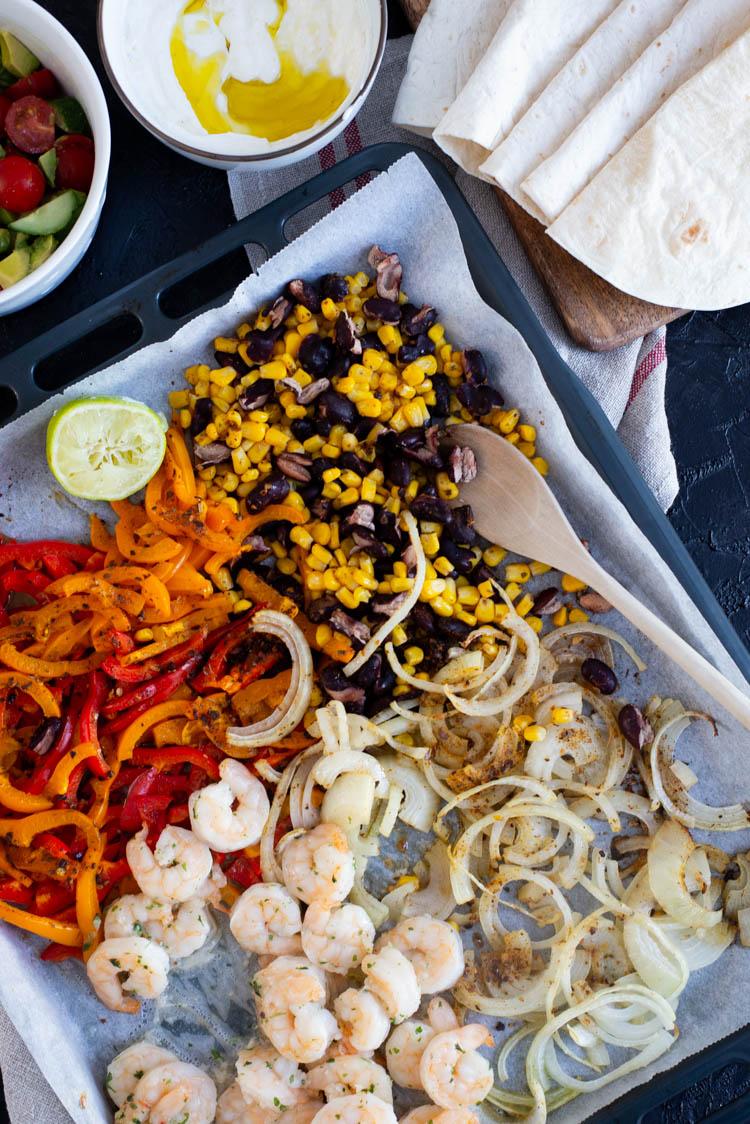 Traybake taco's met garnalen