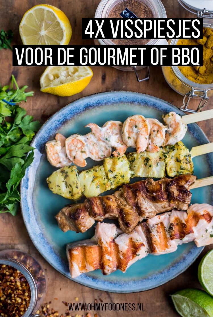 4x visspiesjes voor gourmet of bbq
