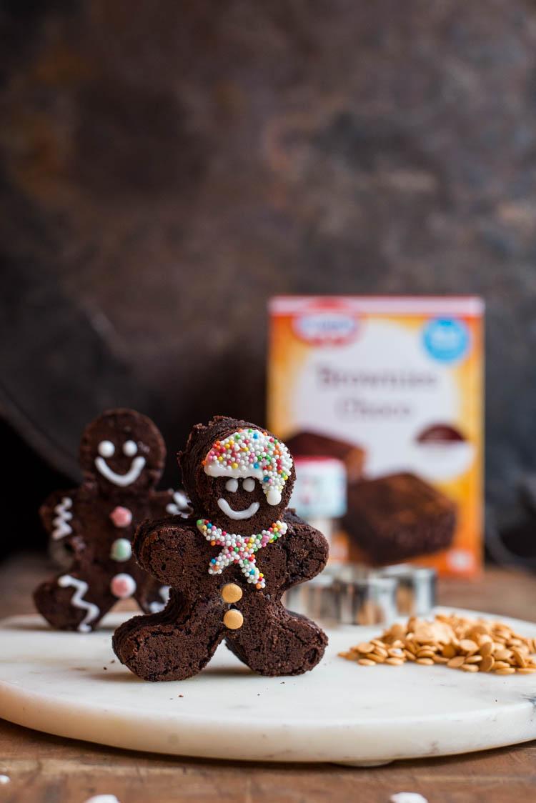 Gingerbread man brownies