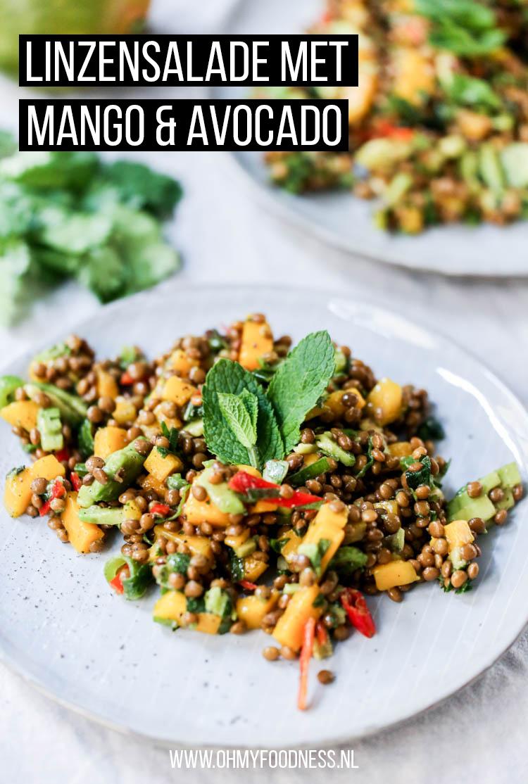 Linzensalade met mango en avocado