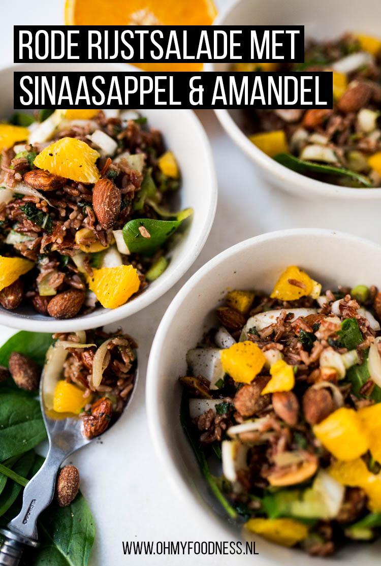 Rode rijstsalade met sinaasappel en amandel
