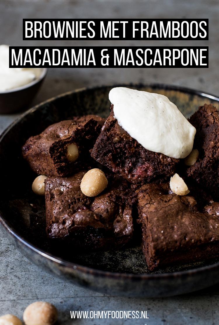 Brownies met framboos, macadamia en mascarpone