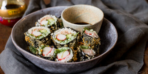 Krokante sushi uit de Airfryer