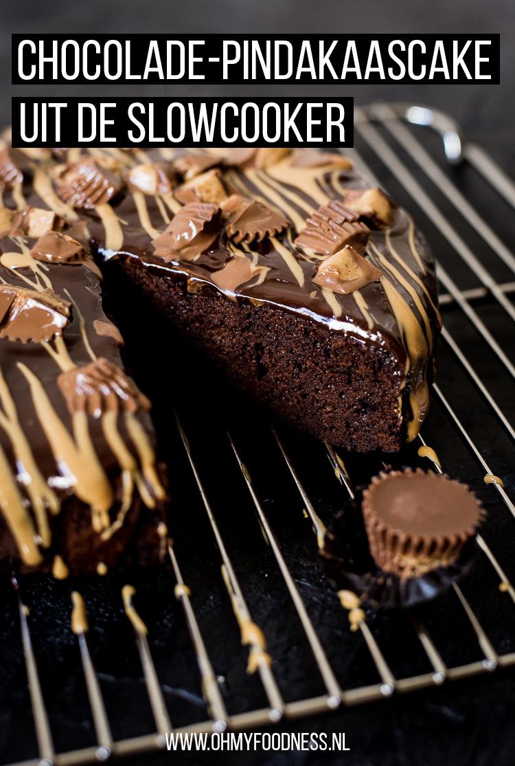 Chocolade-pindakaascake uit de slowcooker