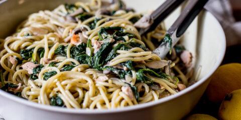 Spaghetti zalm florentine