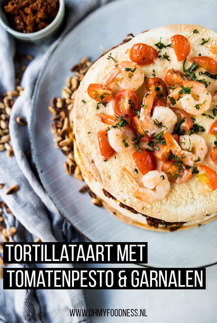 Tortillataart met tomatenpesto en garnalen