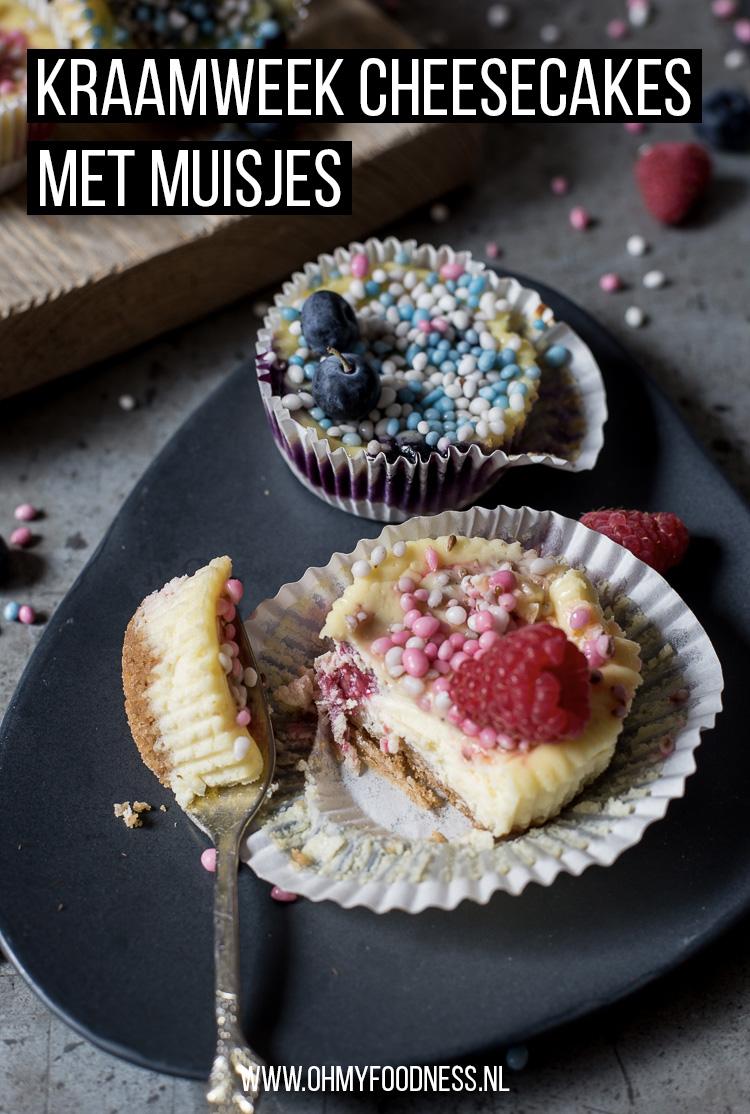 Kraamweek cheesecakes met muisjes