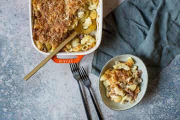 Mac & Cheese met cervelaat en champignons