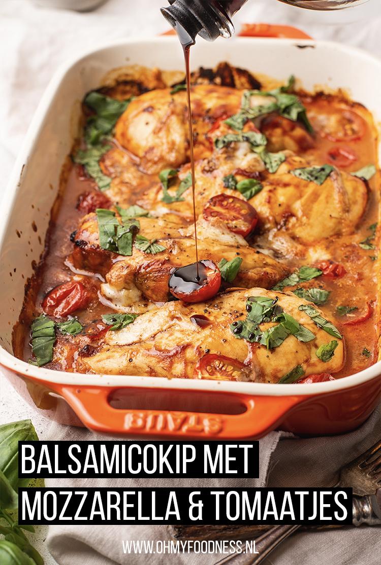 Balsamicokip met mozzarella en tomaatjes