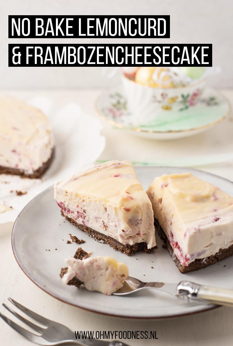 No bake lemoncurd & frambozencheesecake