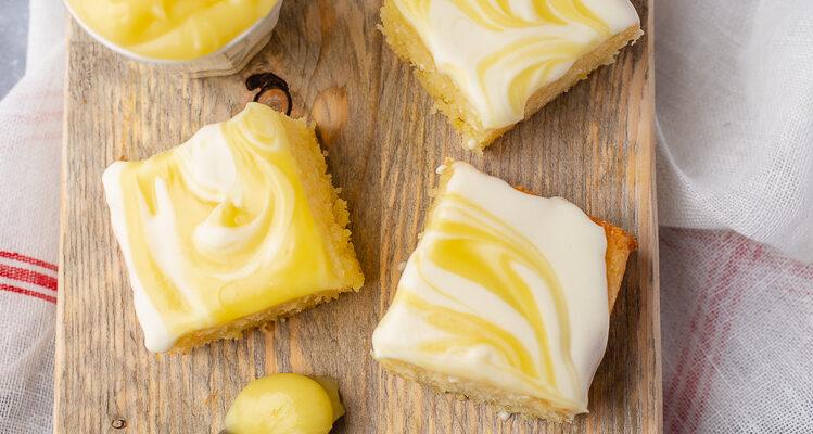 Citroenbrownies met creamcheese en lemoncurd