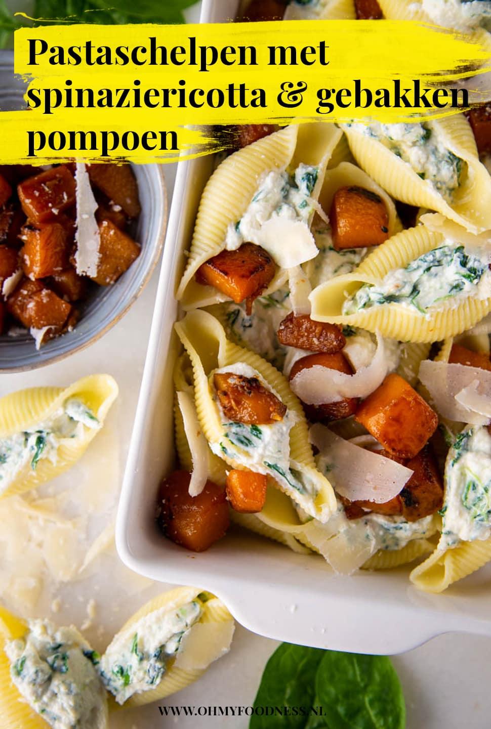 Pastaschelpen met spinaziericotta en gebakken pompoen